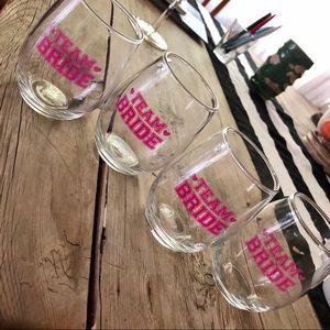 Team Bride Wine Glasses